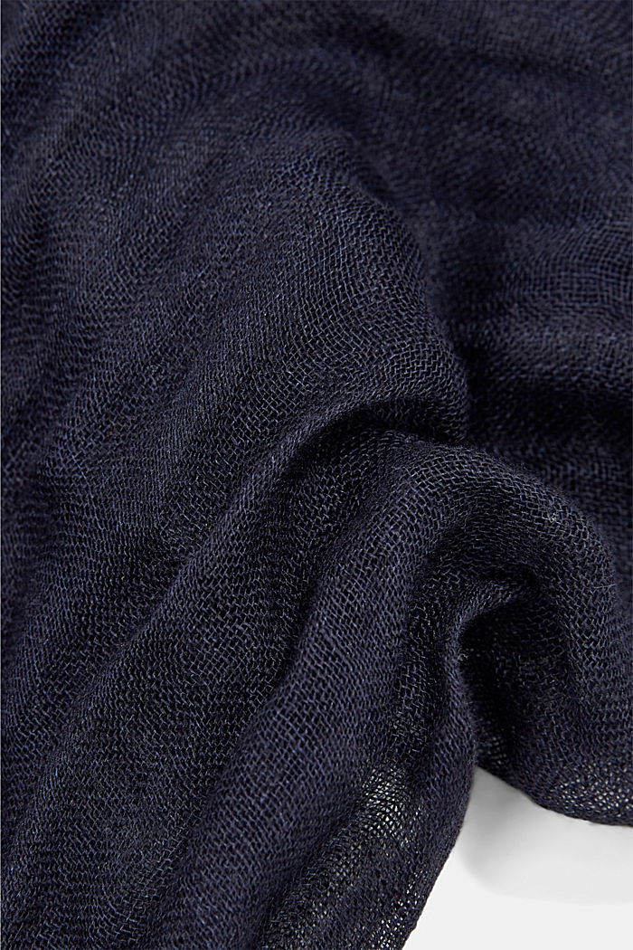 #ReimagineNaturalLifestyle: Scarf made of organic linen, NAVY, detail image number 2