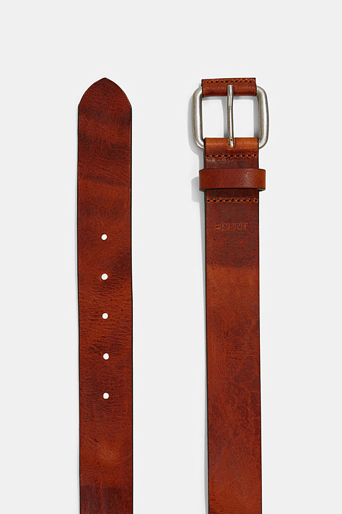 Belt made of chrome-free tanned leather, RUST BROWN, detail image number 1