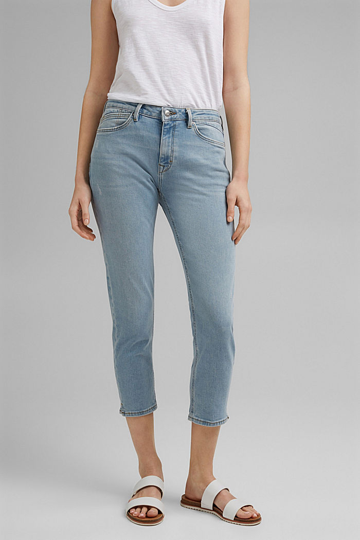 Capri jeans made of organic cotton, BLUE LIGHT WASHED, detail image number 0