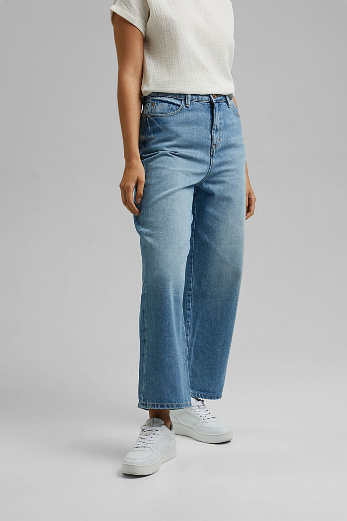 Denim culottes made of 100% organic cotton, BLUE MEDIUM WASHED, detail image number 0