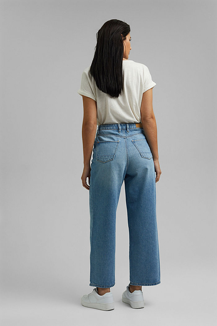 Denim culottes made of 100% organic cotton, BLUE MEDIUM WASHED, detail image number 3