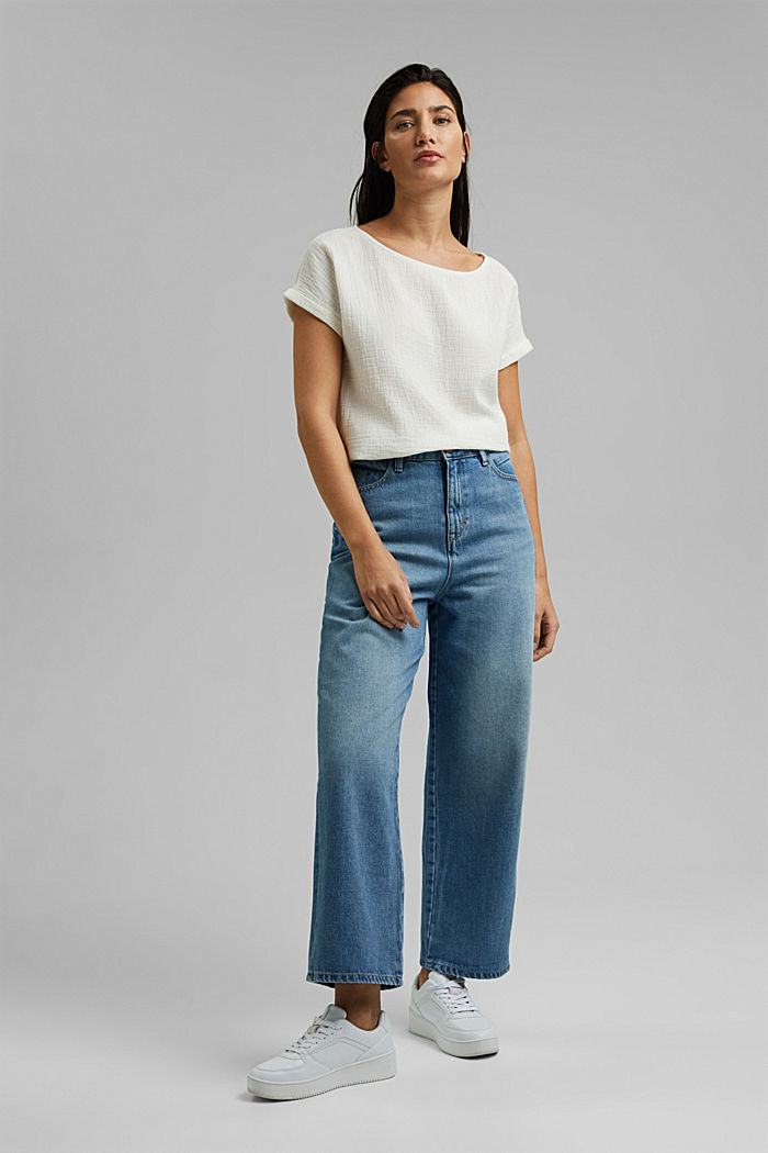 Denim culottes made of 100% organic cotton, BLUE MEDIUM WASHED, detail image number 1