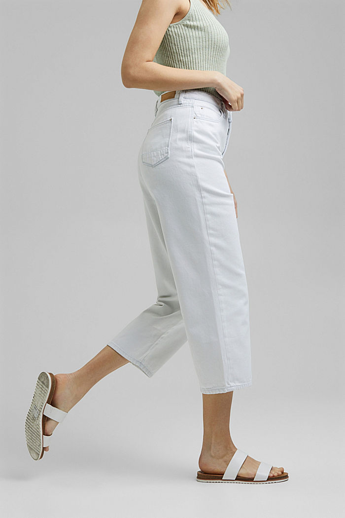 Jeans-Culotte aus 100% Organic Cotton, BLUE BLEACHED, detail image number 0