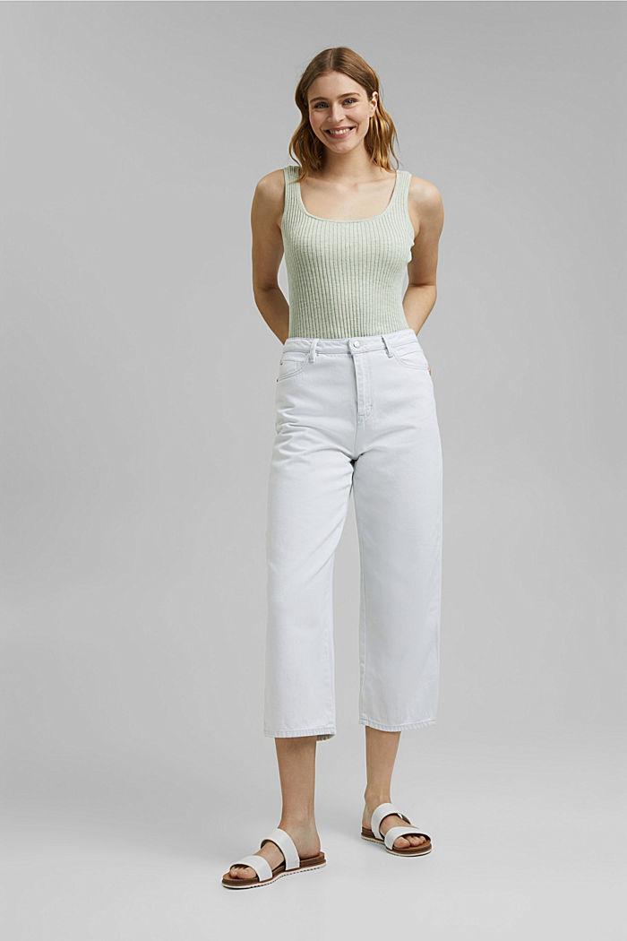 Jeans-Culotte aus 100% Organic Cotton, BLUE BLEACHED, detail image number 1