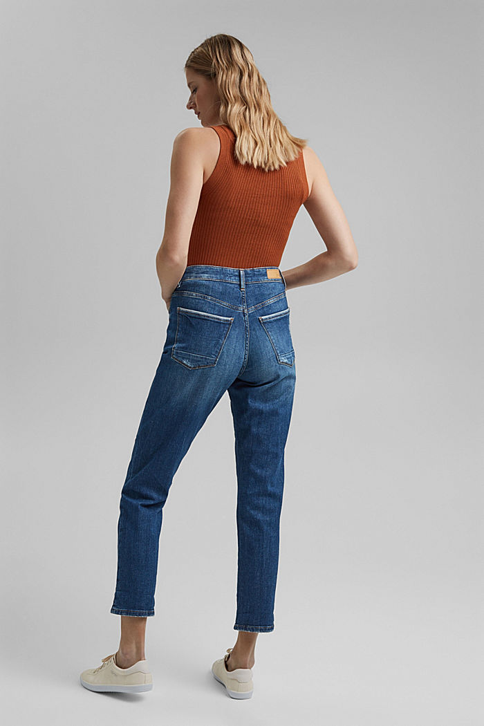 Cropped jeans van 100% biologisch katoen, BLUE MEDIUM WASHED, detail image number 3