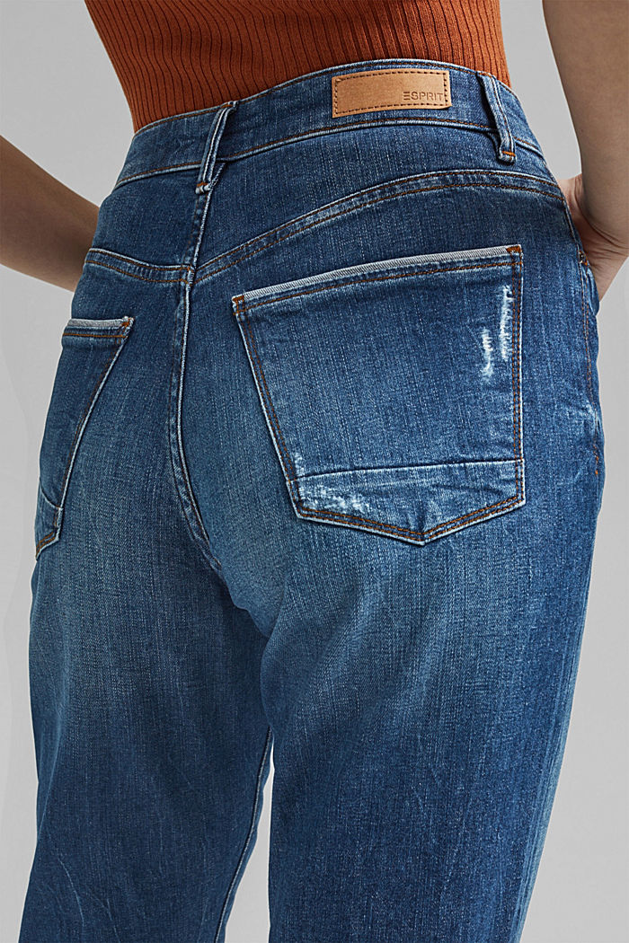 Cropped jeans van 100% biologisch katoen, BLUE MEDIUM WASHED, detail image number 2