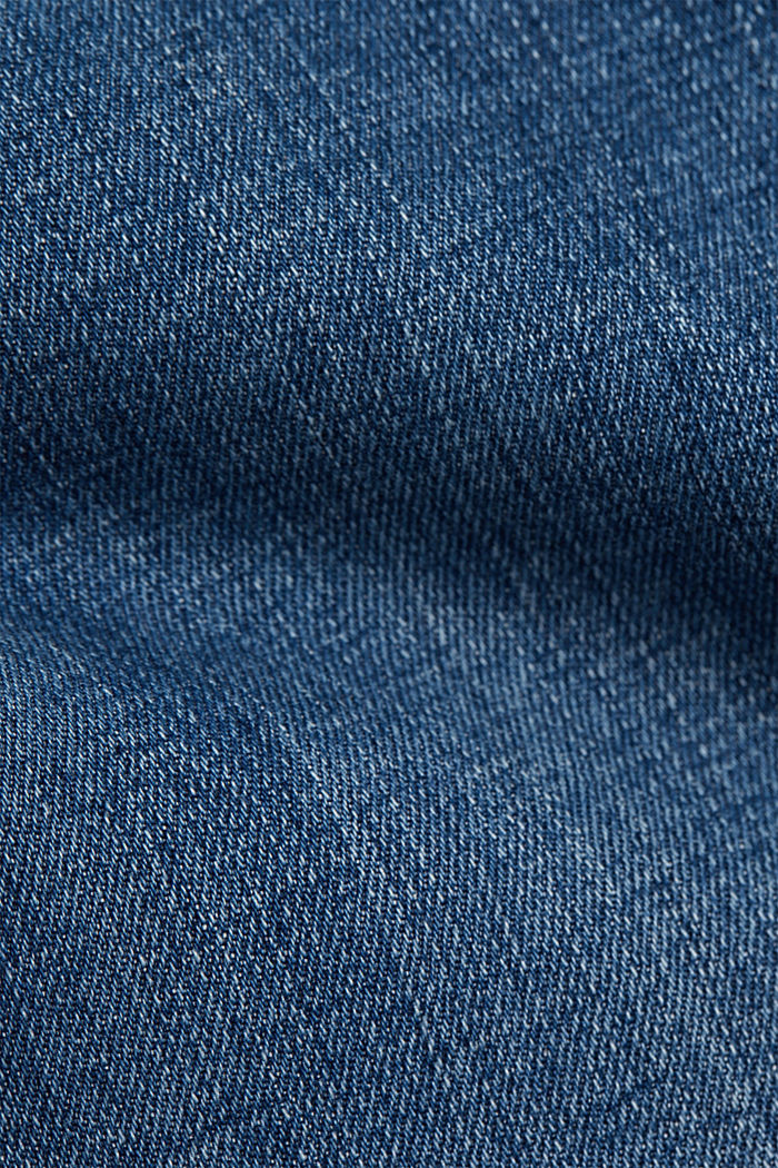 Cropped jeans van 100% biologisch katoen, BLUE MEDIUM WASHED, detail image number 4