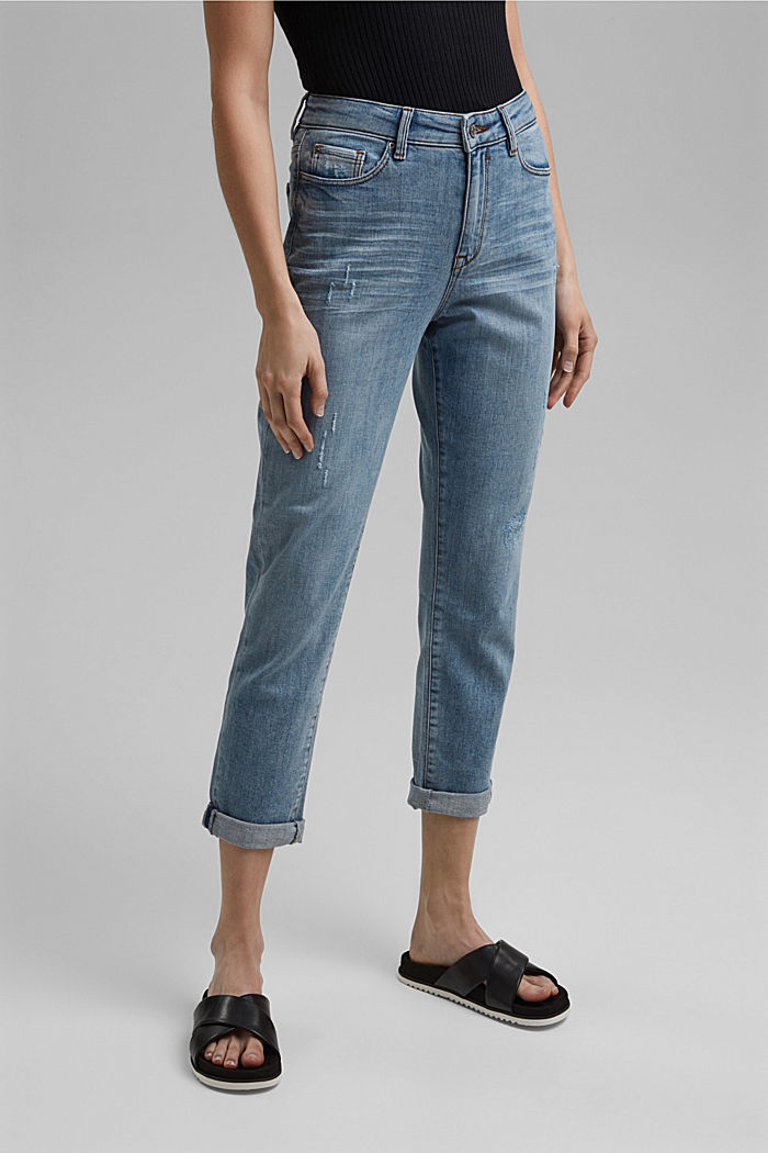 100% organic cotton cropped jeans, BLUE LIGHT WASHED, detail image number 0