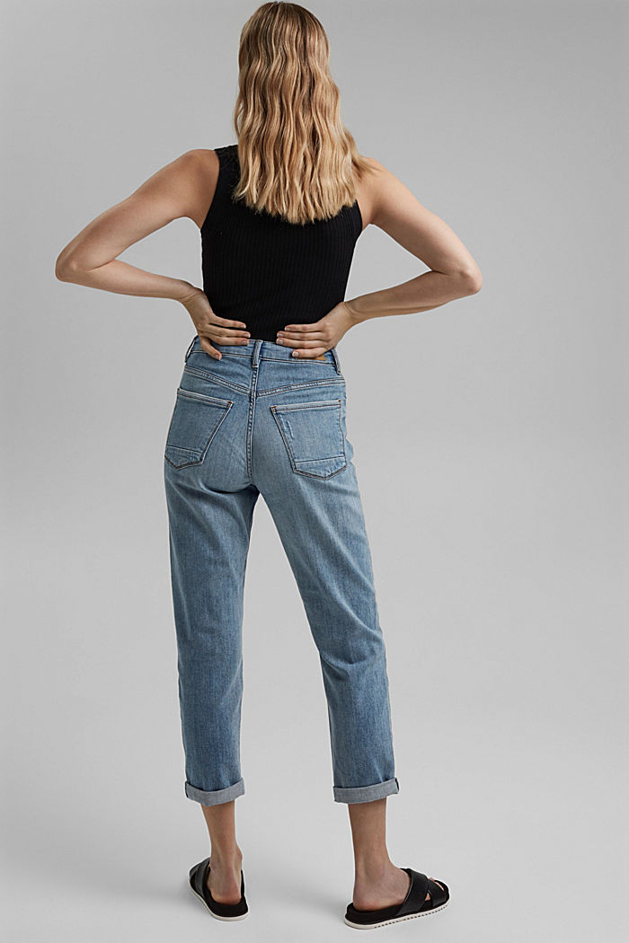 100% organic cotton cropped jeans, BLUE LIGHT WASHED, detail image number 3