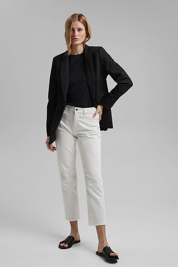 Organic cotton cropped jeans, OFF WHITE, detail image number 1