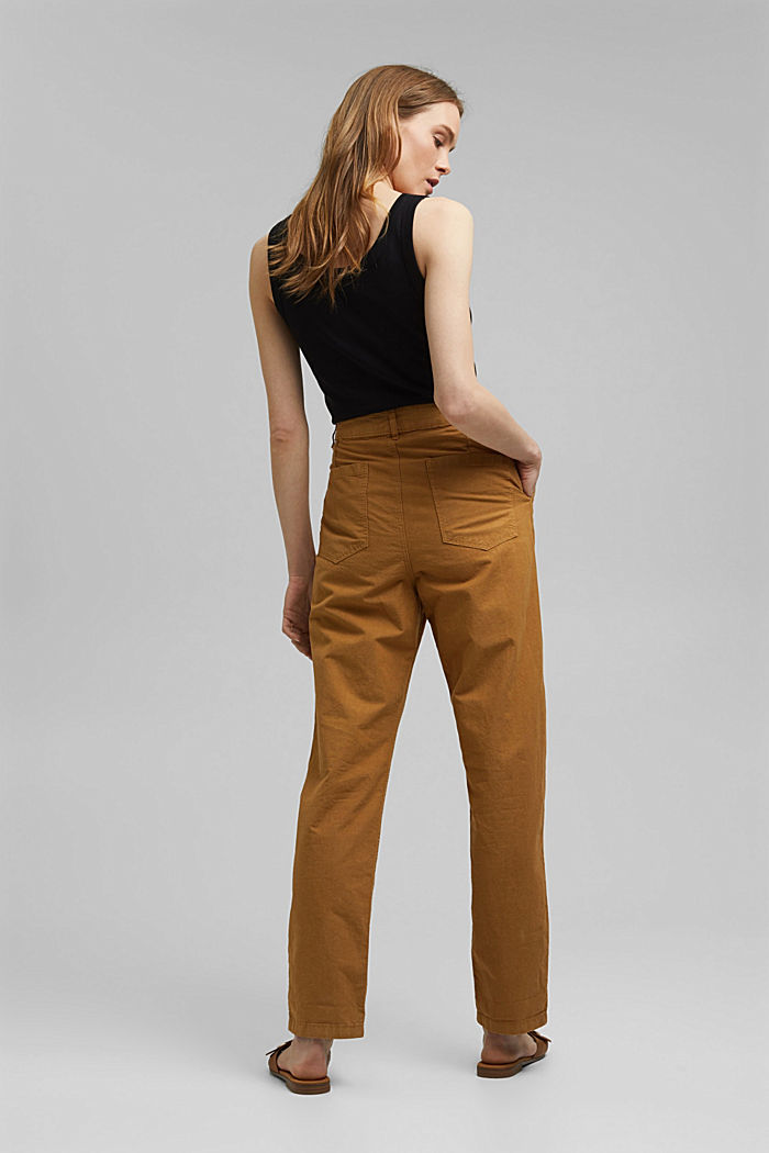 Made of organic cotton/ hemp: trousers in a chino style, CAMEL, detail image number 3