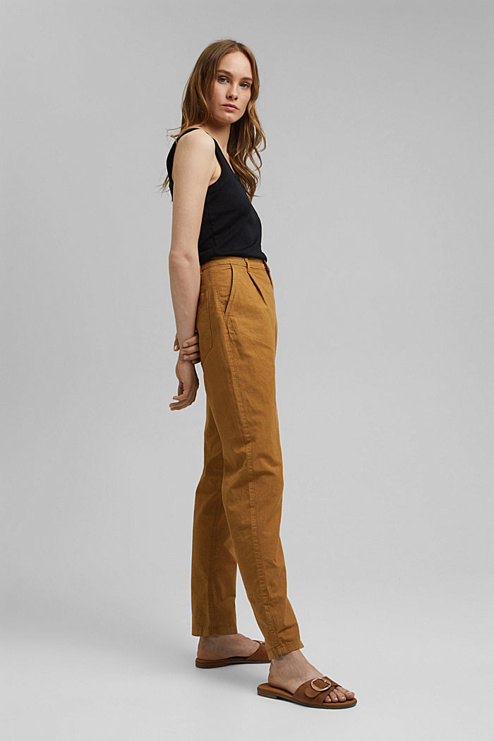 Made of organic cotton/ hemp: trousers in a chino style, CAMEL, detail image number 1
