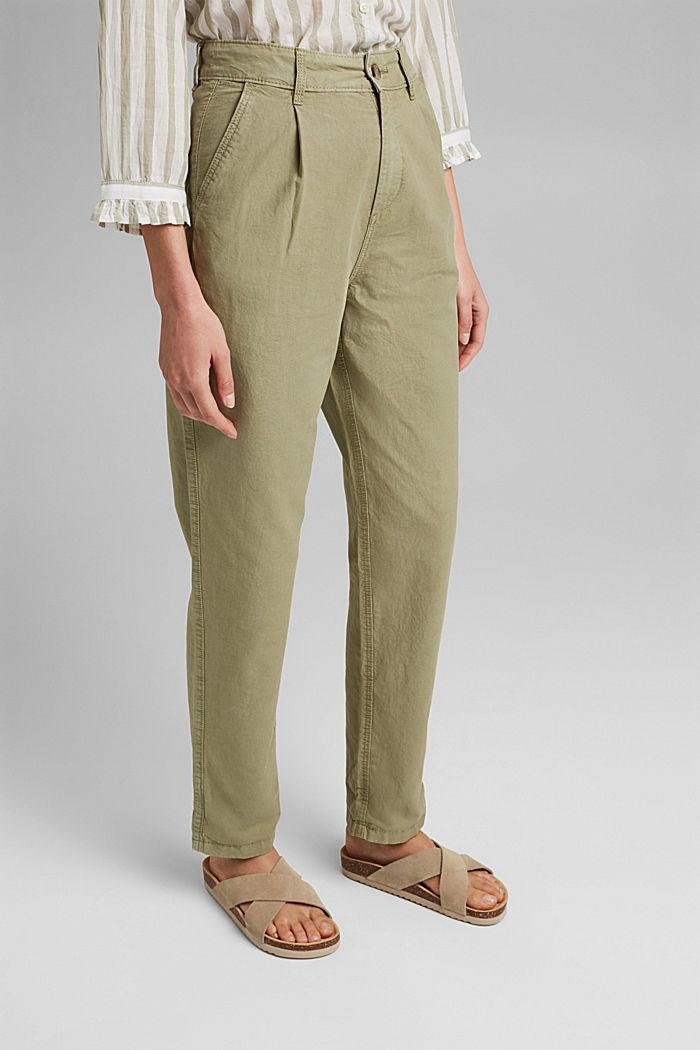 In cotone biologico/canapa: pantaloni stile chino, LIGHT KHAKI, detail image number 0