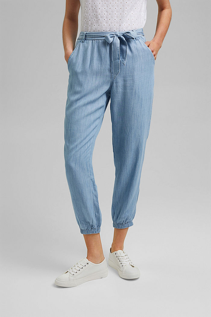 Made of TENCEL™: denim-effect tracksuit bottoms