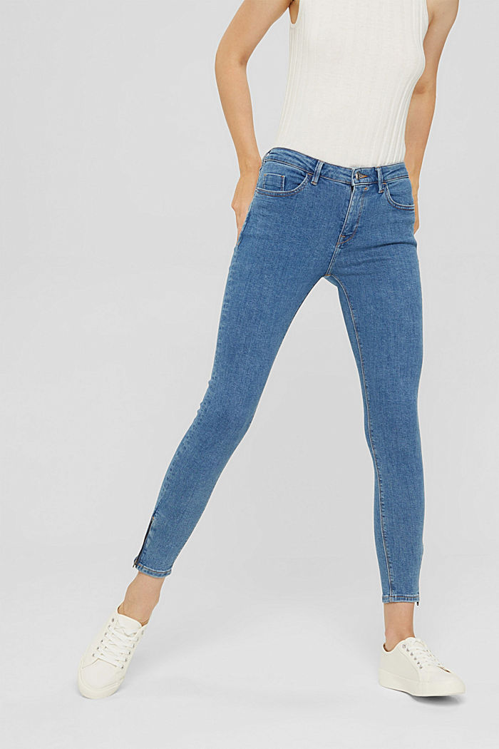 Stretch-Jeans mit Zipper-Detail, BLUE MEDIUM WASHED, detail image number 0