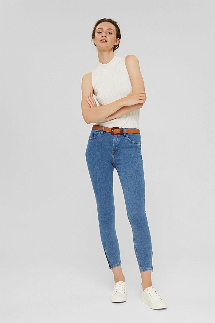 Stretch-Jeans mit Zipper-Detail, BLUE MEDIUM WASHED, detail image number 1