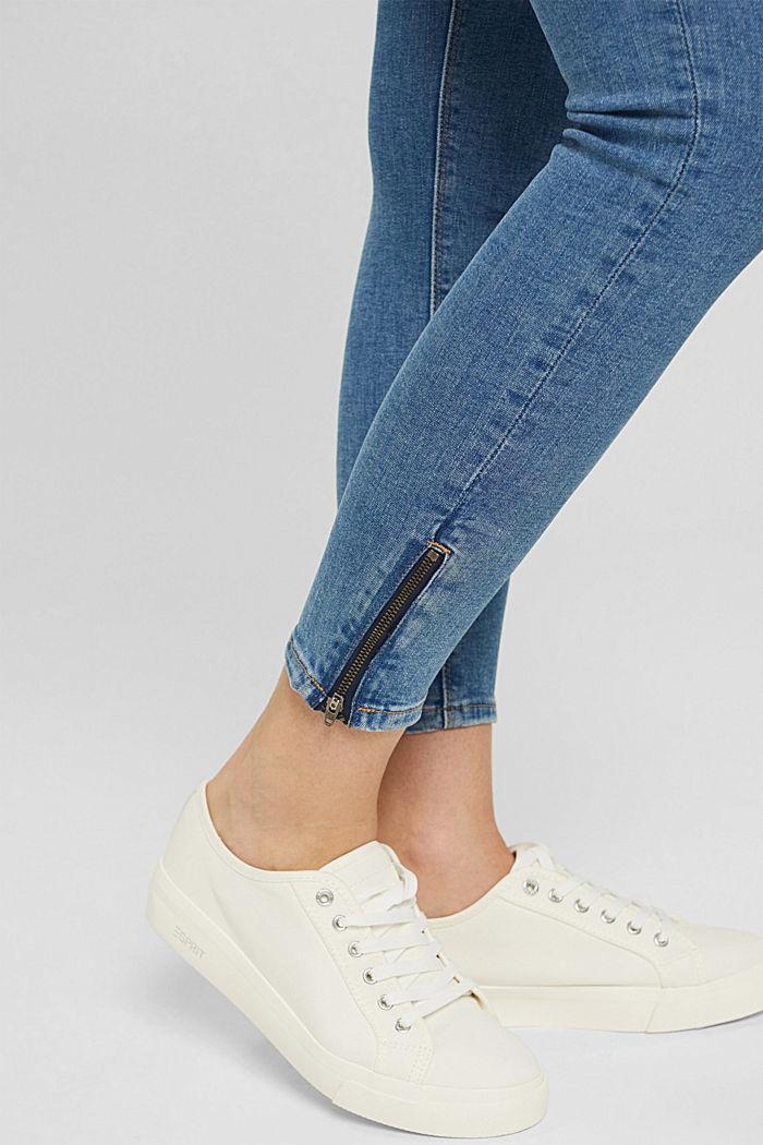 Stretch-Jeans mit Zipper-Detail, BLUE MEDIUM WASHED, detail image number 2