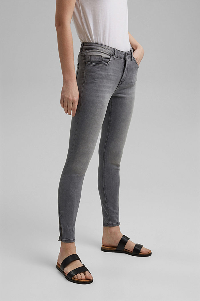 Stretch jeans with zip details, GREY MEDIUM WASHED, detail image number 0