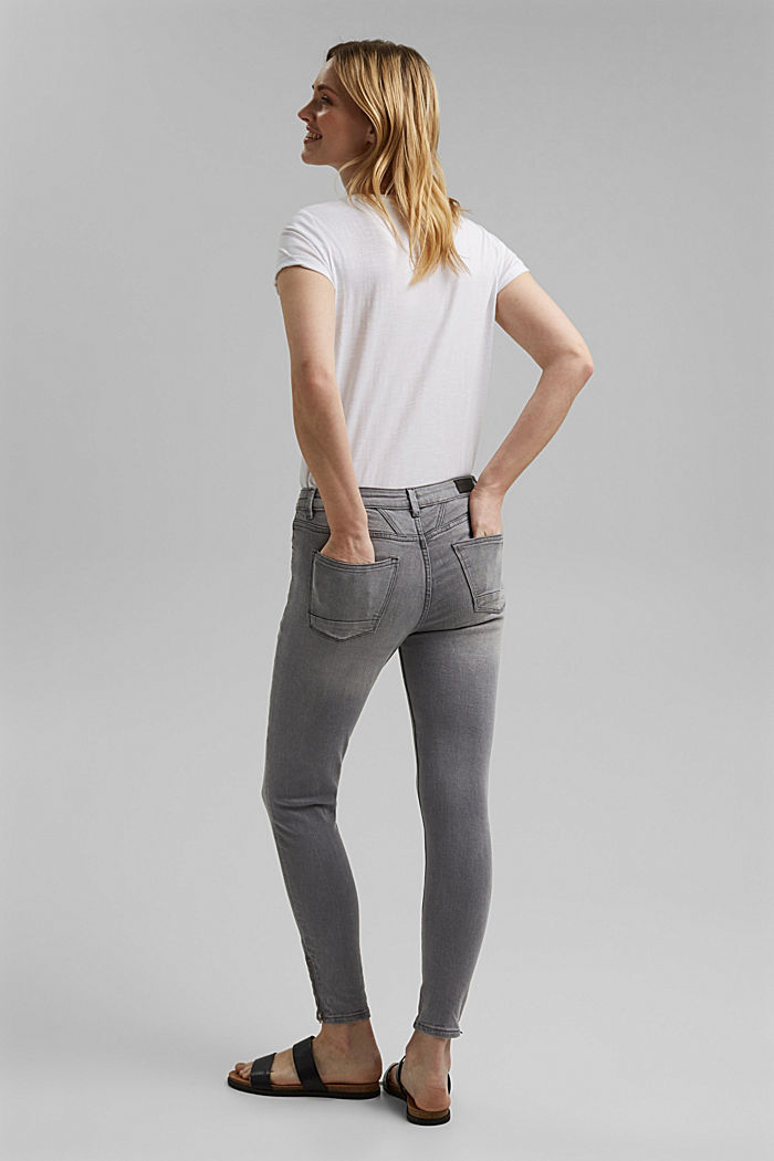 Stretch jeans with zip details, GREY MEDIUM WASHED, detail image number 3