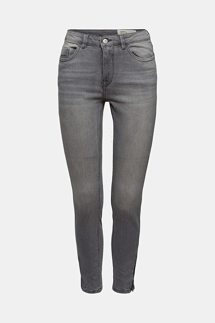 Stretch jeans with zip details, GREY MEDIUM WASHED, detail image number 6