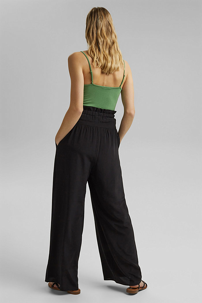 Palazzo trousers containing LENZING™ ECOVERO™, BLACK, detail image number 3