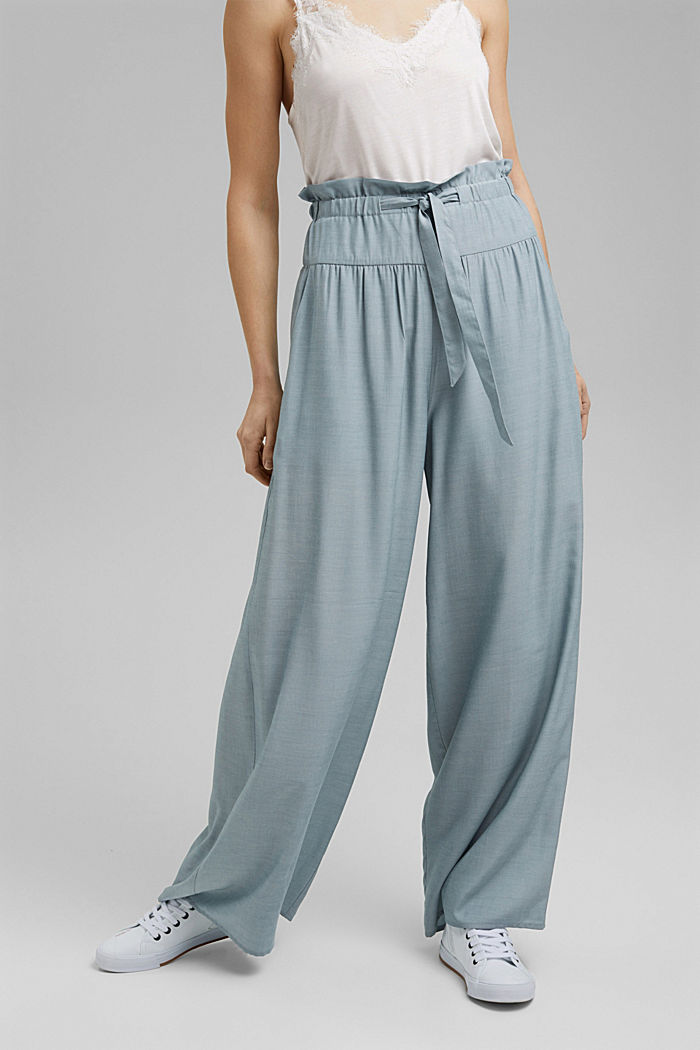 Palazzo trousers containing LENZING™ ECOVERO™, LIGHT BLUE, detail image number 0