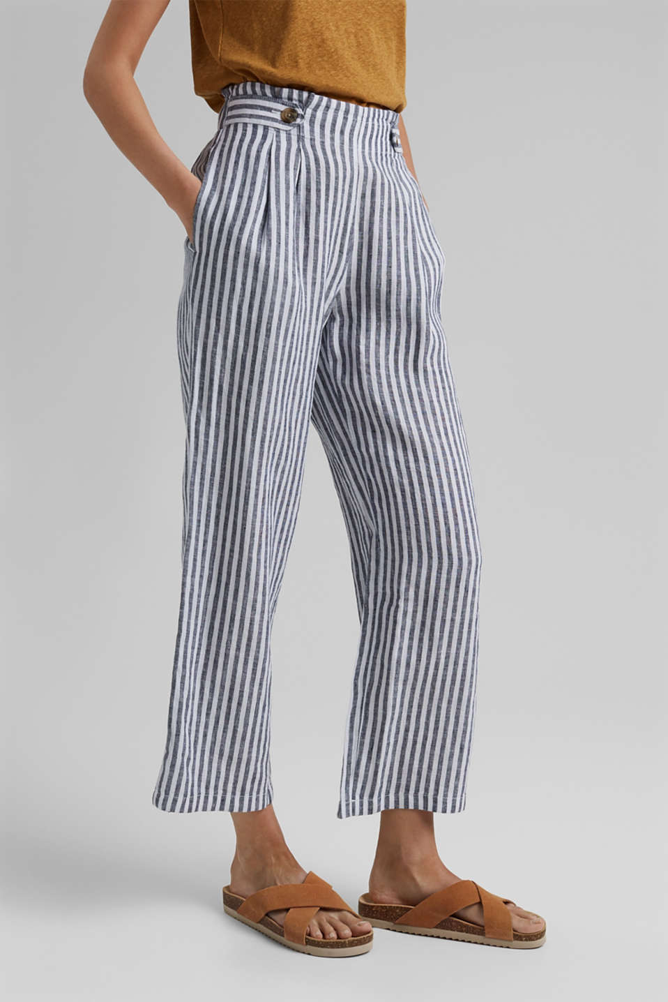 Esprit - Made of 100% linen: striped culottes