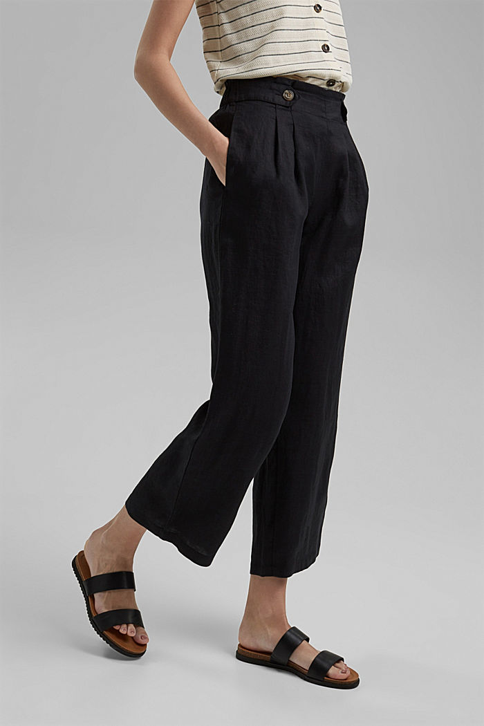 Made of 100% linen: culottes with an elasticated waistband, BLACK, detail image number 0