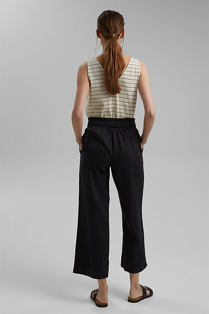 Made of 100% linen: culottes with an elasticated waistband, BLACK, detail image number 3