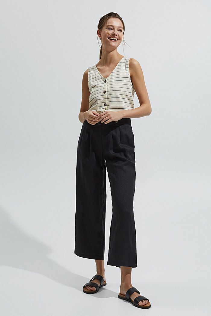 Made of 100% linen: culottes with an elasticated waistband, BLACK, detail image number 1