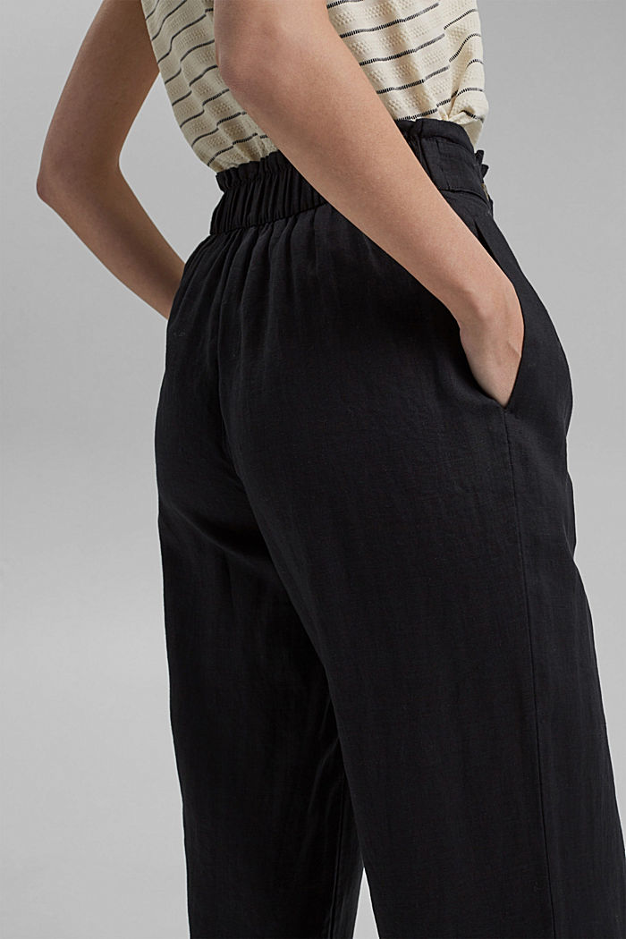 Made of 100% linen: culottes with an elasticated waistband, BLACK, detail image number 5