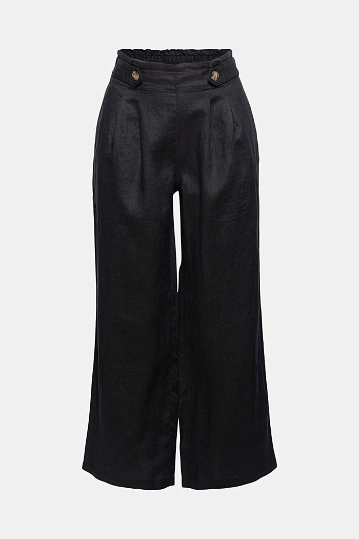 Made of 100% linen: culottes with an elasticated waistband, BLACK, detail image number 7