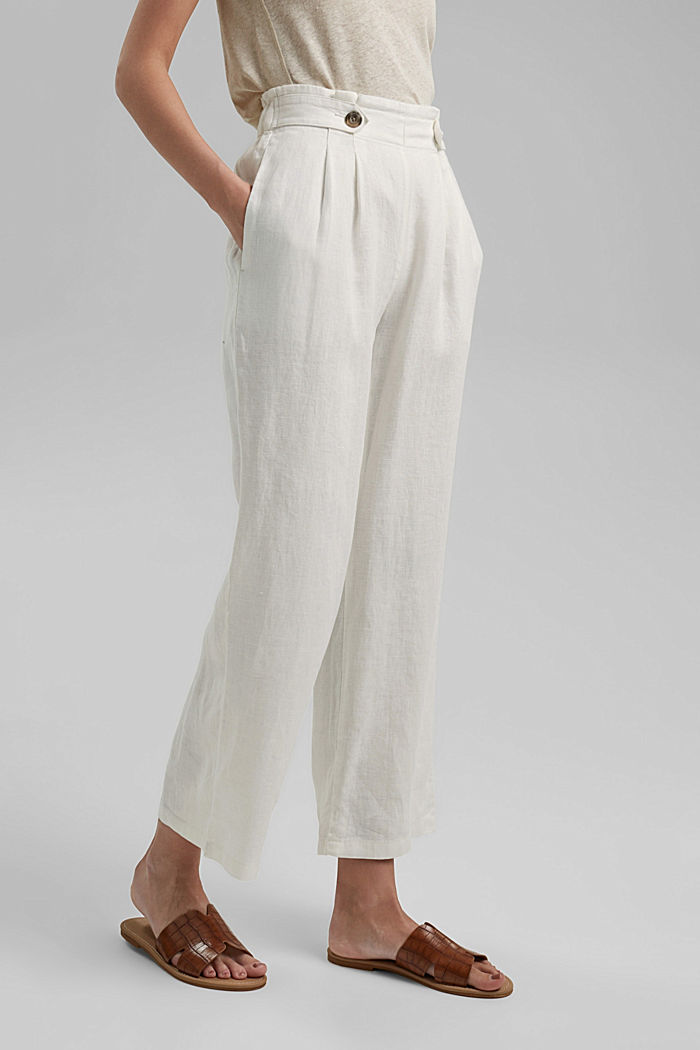 Made of 100% linen: culottes with an elasticated waistband, OFF WHITE, detail image number 0