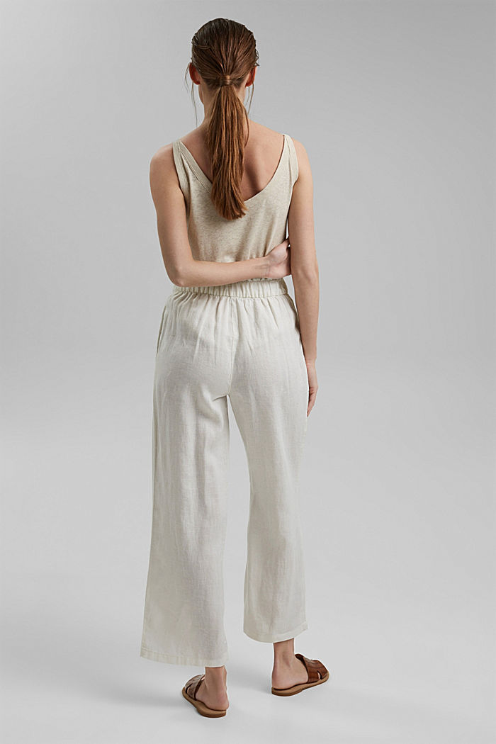 Made of 100% linen: culottes with an elasticated waistband, OFF WHITE, detail image number 3