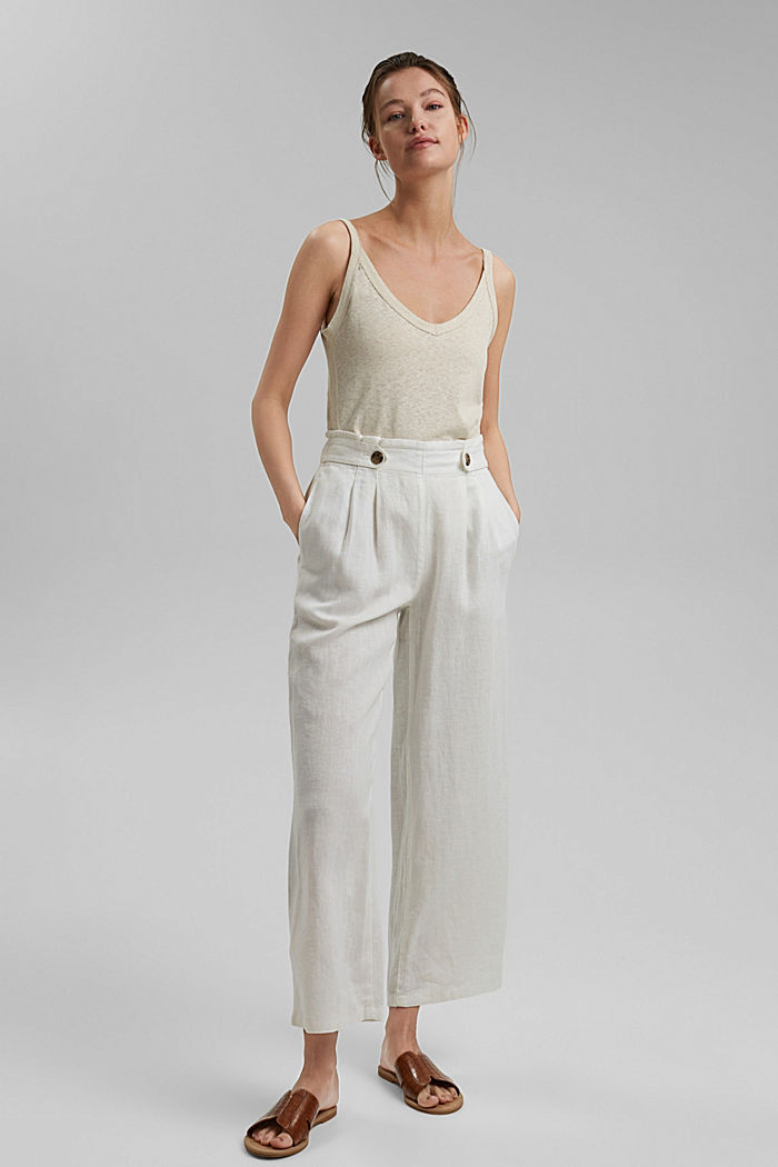Made of 100% linen: culottes with an elasticated waistband, OFF WHITE, detail image number 1
