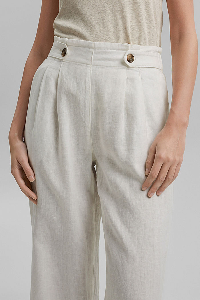 Made of 100% linen: culottes with an elasticated waistband, OFF WHITE, detail image number 2