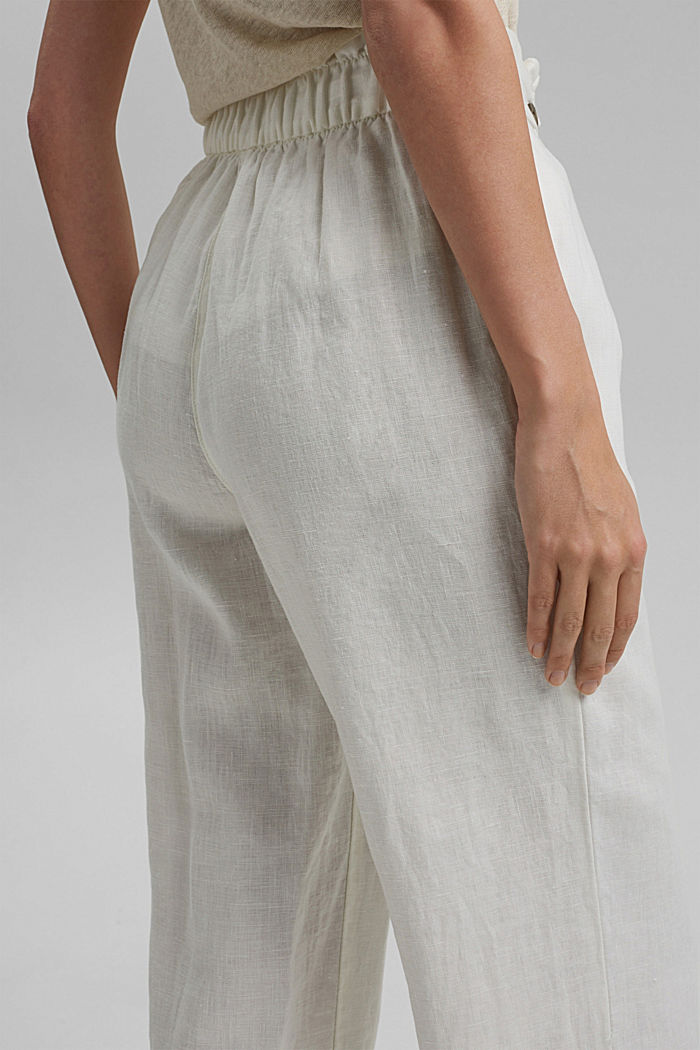 Made of 100% linen: culottes with an elasticated waistband, OFF WHITE, detail image number 5