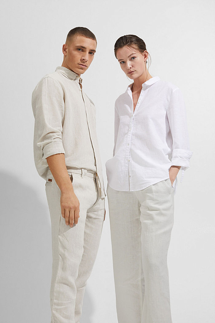 Made of 100% linen: culottes with an elasticated waistband, OFF WHITE, detail image number 7