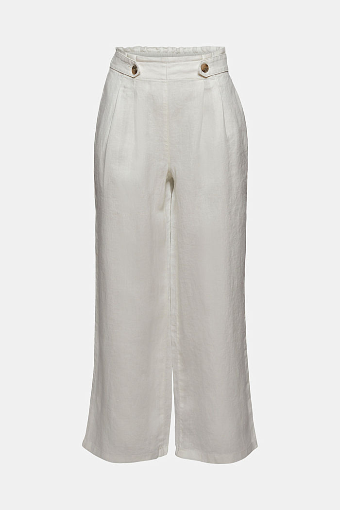 Made of 100% linen: culottes with an elasticated waistband, OFF WHITE, detail image number 8
