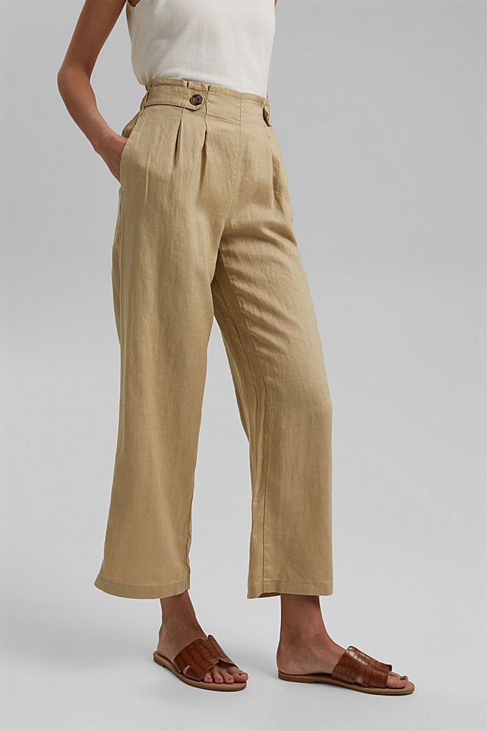 Made of 100% linen: culottes with an elasticated waistband, SAND, detail image number 0