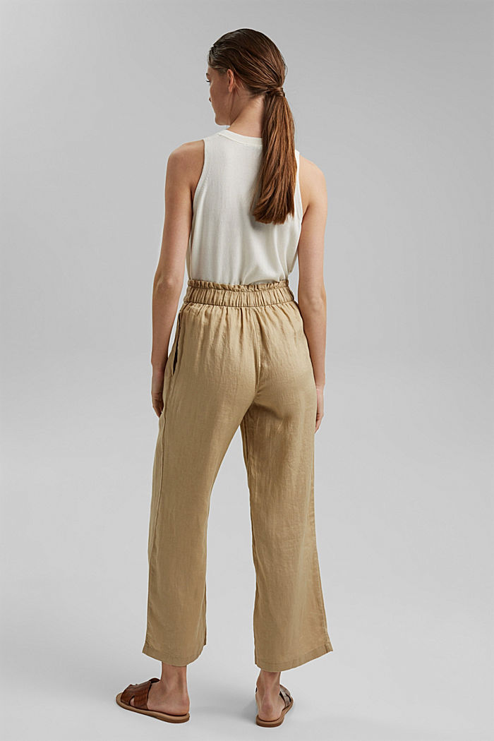 Made of 100% linen: culottes with an elasticated waistband, SAND, detail image number 3