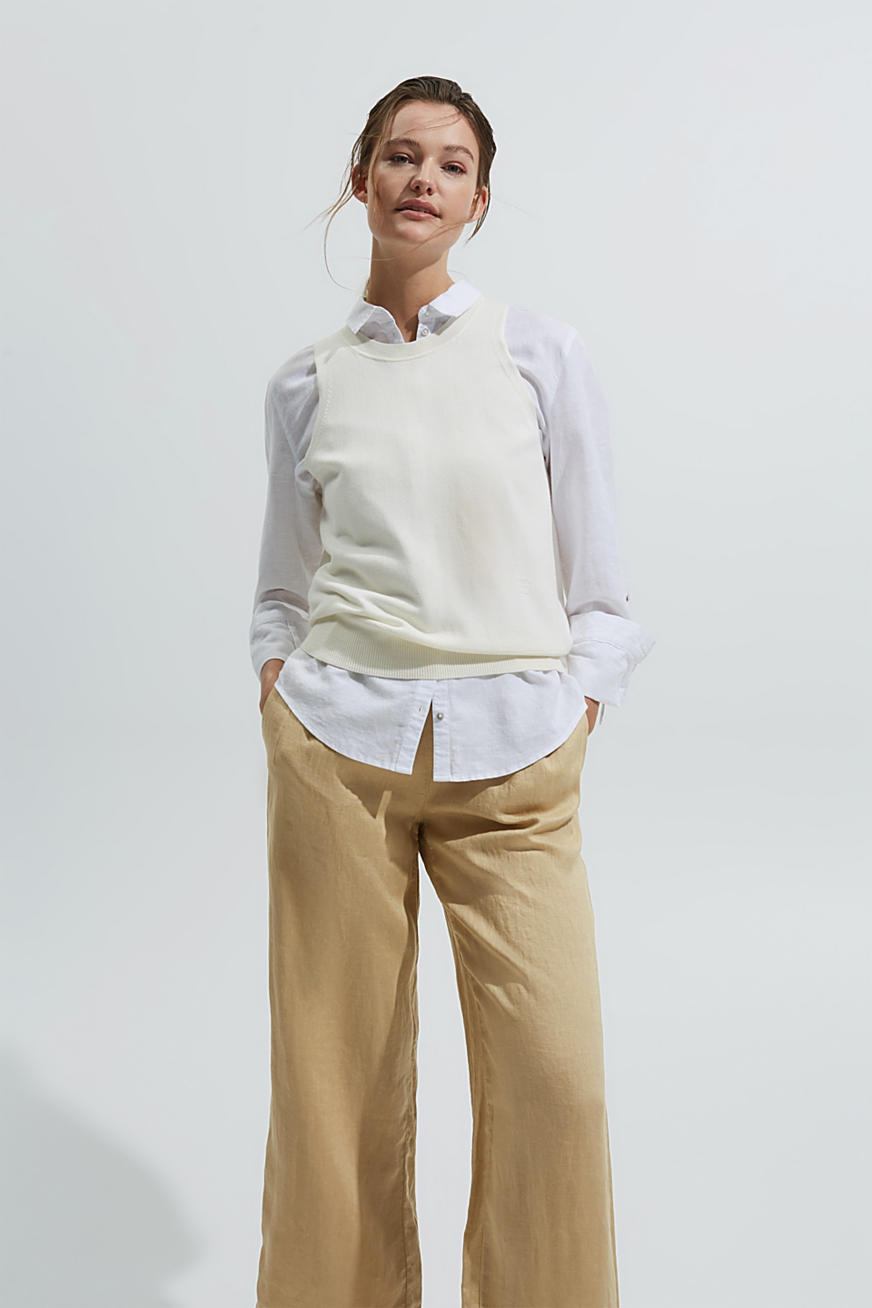 Made of 100% linen: culottes with an elasticated waistband
