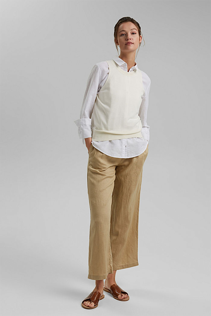 Made of 100% linen: culottes with an elasticated waistband, SAND, detail image number 1