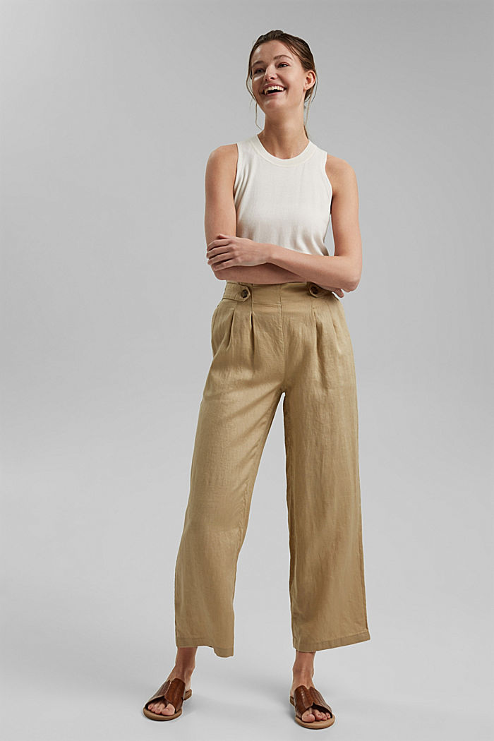 Made of 100% linen: culottes with an elasticated waistband, SAND, detail image number 7