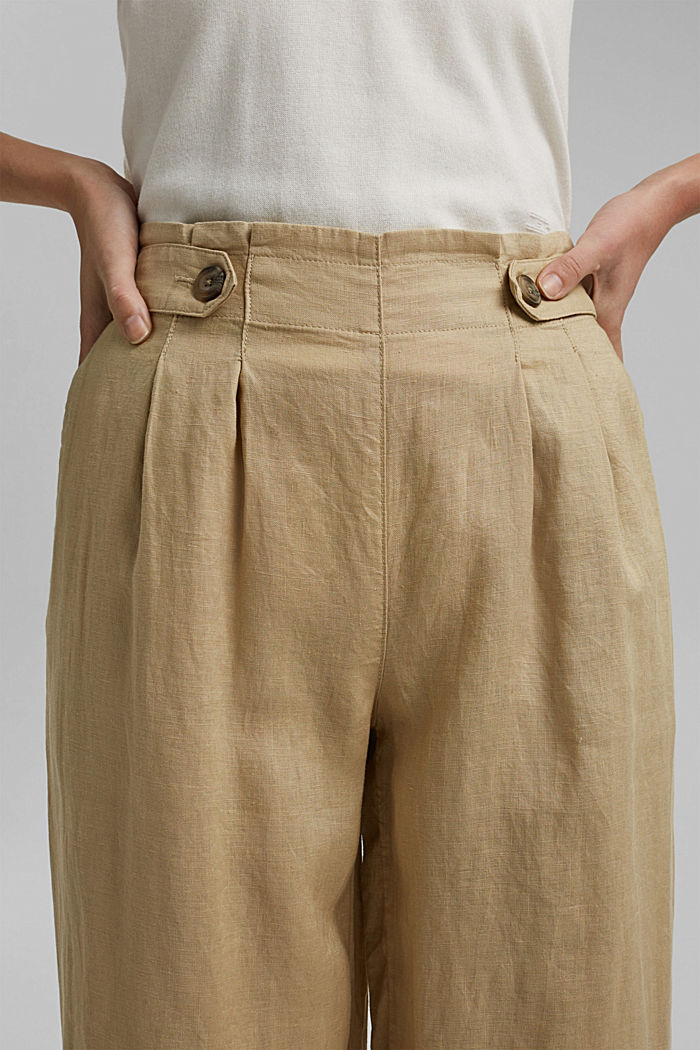 Made of 100% linen: culottes with an elasticated waistband, SAND, detail image number 2