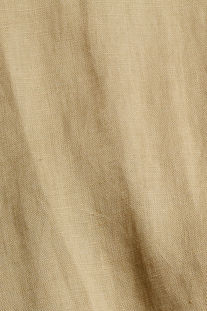 Made of 100% linen: culottes with an elasticated waistband, SAND, detail image number 4