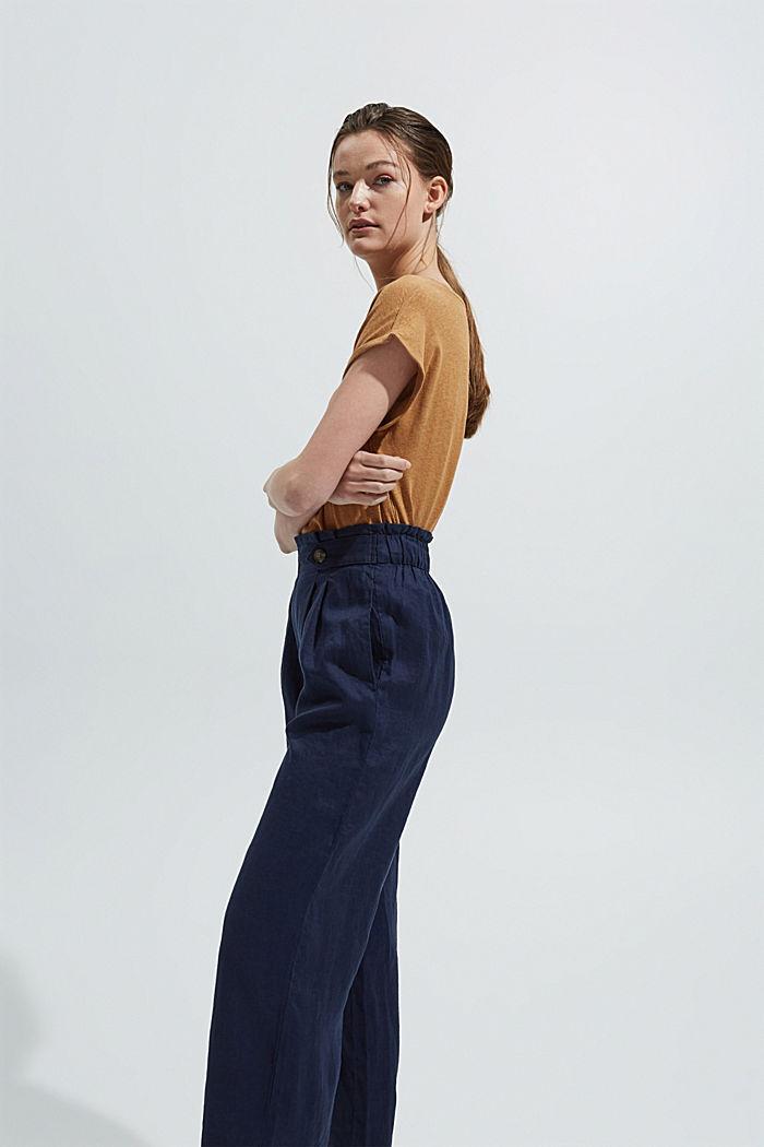 Av 100% linne: Culottebyxa med elastisk linning