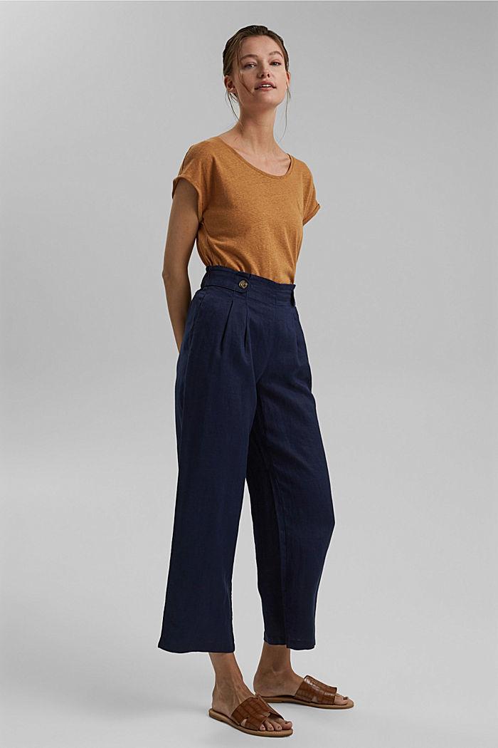 Aus 100% Leinen: Culotte mit elastischem Bund, NAVY, detail image number 1