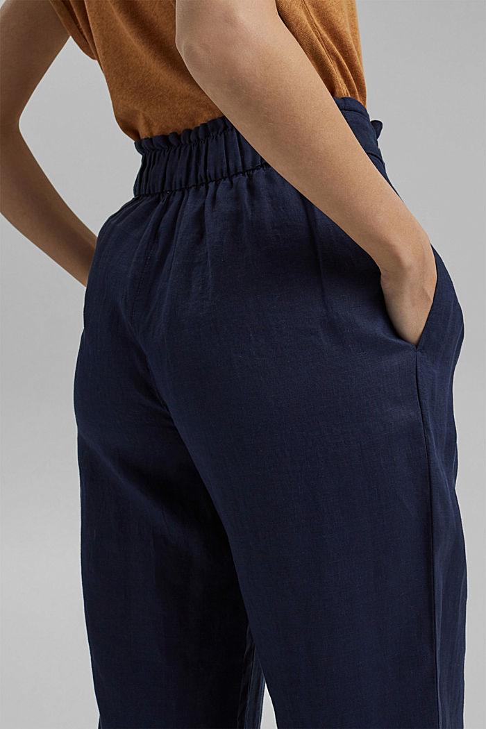 Aus 100% Leinen: Culotte mit elastischem Bund, NAVY, detail image number 6