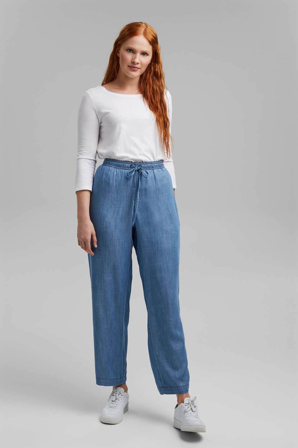 Esprit - CURVY TENCEL™: denim-look tracksuit bottoms